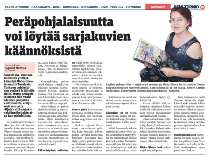 Kemi-Tornio-lehden juttu